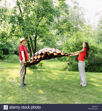 spreading mature comp side profile mature man his daughter spreading picnic blanket stock photo