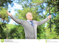 spreading mature happy mature man cane spreading his arms park royalty free stock photography