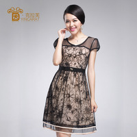 thin mature summer elegant mature lace thin short sleeved chiffon princess dress yan lafu shortsleeved