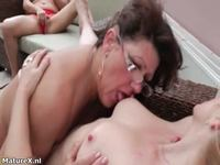 wet mature user horny mature woman glasses enjoys licking old wet pussy lesbian threesome maturex