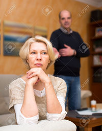 wife mature jackf pensioners couple are having quarrel mature wife sitting turned away from old husband stock photo