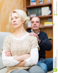 wife mature husband asking wife forgiveness guilty mature stock photo