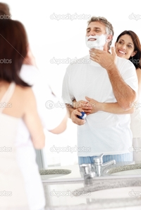 wife mature depositphotos mature man shaving his wife holding husband from behind stock photo